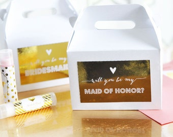Bridesmaid & Maid of Honor Question Mini Gable Boxes (set of 8)