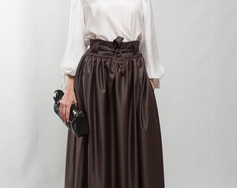Taupe maxi skirt flared skirt pleated skirt formal floor skirt special day skirt brown pockets cocktail skirt bridesmaid skirt prom skirt