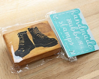 Leather Boots Rubber Stamp
