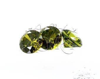 10pcs AAAAA 3mm Dark Olive Cubic Zirconia, Round Shape, Faceted CZ, Brilliant/Diamond Cut, Olive Green Cubic Zirconia, SA12R
