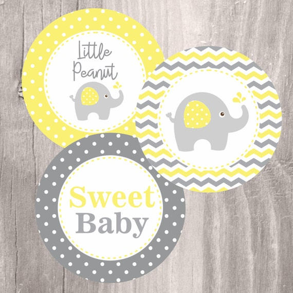 High Quality Elephant Printable Centerpieces, Yellow And Grey Elephant Baby Shower  Centerpieces, Instant Download, Neutral Baby Shower Decoration
