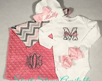 Coming home outfit Baby Girl, Personalized, Monogram Boho Chevron pink and gray with Gown, Boho Lovie, Coral Bow, Hat with name and Bow