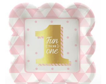 First Birthday Girl Gold Foil Print Dessert Plates - Fun to Be One Tableware - Pink Cake Plates - 1st Birthday Party Supplies - 8 ct