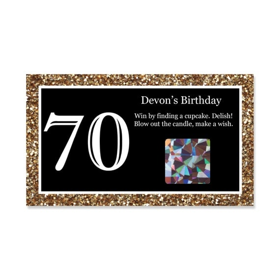 70th Birthday Party Scratch Off Game