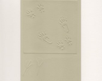 Embossed Animal Prints, Bird and Squirrel