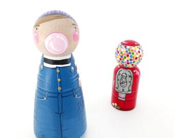 "CUSTOM peg doll w/bubble + gumball machine // custom 3 1/2"" peg doll & 2 3/8"" bubblegum machine // wooden toys // peg dolls // personalized"