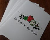 """Holiday Recipe Greeting Cards: """"Deck the Halls!"""" 5 Card Veggie Set, Recycled Paper, Vegetarian Recipe on Back"""