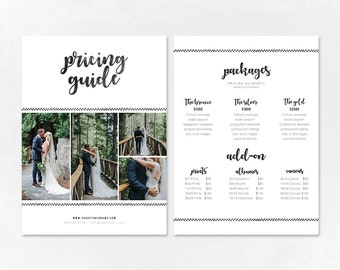 Photography Pricing Template - Price Guide List for Photographers - Wedding Photographer Photo Price Sheet - Price Guide - PG010