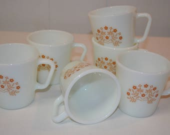Pyrex Coffee Mugs Cups - SET of 6 - Summer Impressions Ginger Brown Flowers 1410 - White Milk Glass - VINTAGE 1970s