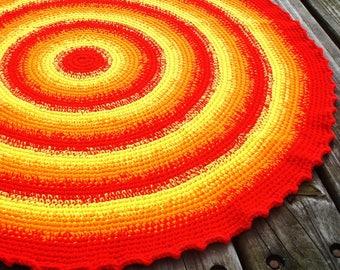 Crochet rug/crochet round rug/crochet area rug/crochet floor rug/area rug/floor rug/red rug/round crochet rug/rug/rugs/yellow crochet rug