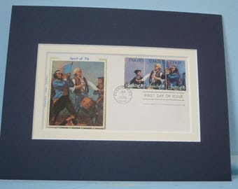 The American Revolution - The First day Cover of the Spirit of '76 stamp