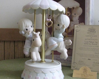 Precious Moments Love Makes the World Go Round Carousel Figurine Limited Edition Retired 1995 Century Circle Exclusive Series Nursery Decor