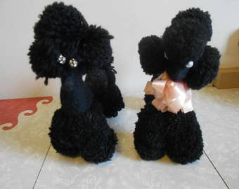 Fun Black Male and Female Stuffed Poodles