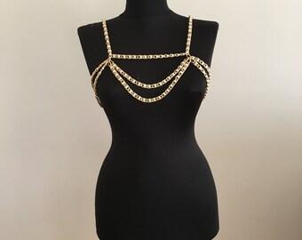 Gold Pearl Shoulder Necklace, Wedding Shoulder Necklace Pearl Shoulder Necklace, SHC1011-02