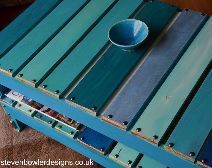 FREE UK SHIPPING Reclaimed Wood Coffee Table Boat Wood Style Finish Harbour Lights Colour Scheme & Handy Storage Shelf Handcrafted to Order