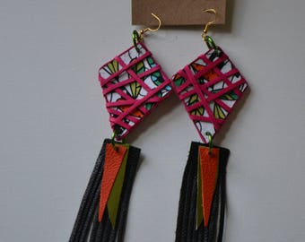 Leather wrapped leather fringe earrings