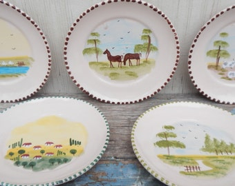 Set of Adorable Italian Hand Painted Pottery Plates!