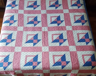 Vintage 100% Cotton Hand Stitched & Quilted Basket Pattern Quilt