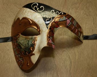 Classic Colorful Venetian Costume Masquerade Mask Mosaic Phantom of the Opera Style Scenic Prop PP019BK