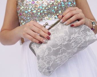 Gray Lace Clutch - Bridal Clutch / Bridesmaids / Gift for her / Dinner clutch / Women / Bag / Purse / Pouch / Wedding  / bridesmaids gift