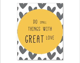 Do Small things with great love, Yellow Hearts Wall art, Printable Nursery Kids Room Poster, 8x10 Instant Download Print