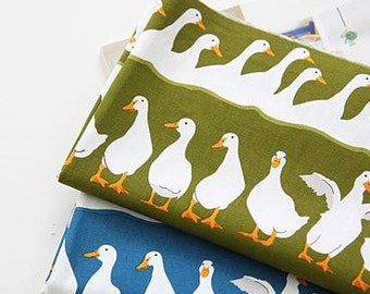 Lovely Goose Pattern Cotton Oxford Fabric by Yard - 2 Colors Selection