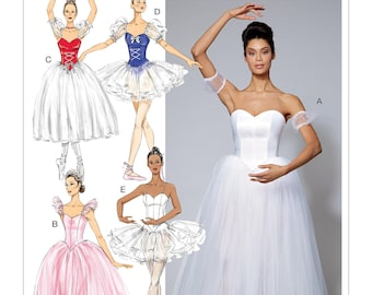 McCall's Sewing Pattern M7615 Misses' Ballet Costumes with Fitted, Boned Bodice and Skirt and Sleeve Variations