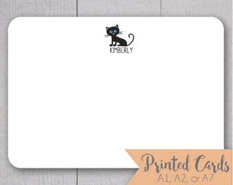 Cat Note Cards - 24pk, Cat Note Cards, Personalized Flat Note Cards, Printed without Envelopes (NC13)