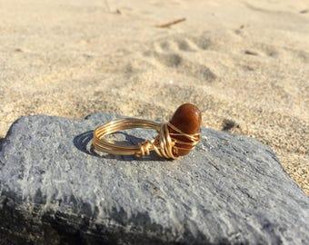 Size S Fancy Jasper Gemstone wire wrapped ring