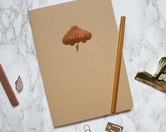 Copper Foil Cloud A5 Notebook - Kraft Notebook - Cute Sketchbook - Copper Foil - Luxury Notebook - Weather Symbol - Storm Cloud - Lightning
