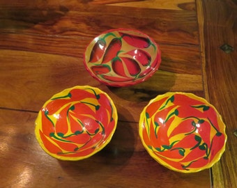 Beautiful Vintage Colorful  Hand Painted Clay Salsa Bowls Set of Three