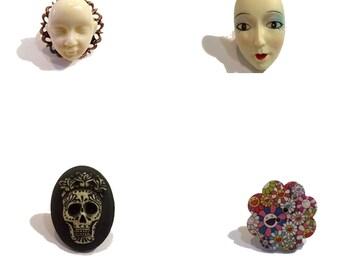 OOAK,mod adjustable ring , Sugar skull, Victorian,Steampunk,Gothic style.