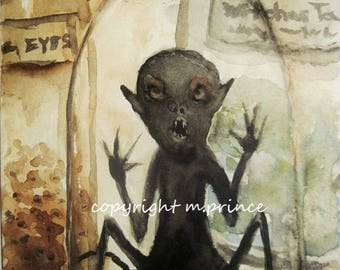 Creepy Art Painting Gothic Dark Art Original Watercolor Fantasy Creature Demon 5x7 inches