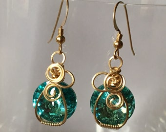 Light Turquoise Swarovski Rivoli & Gold Earrings