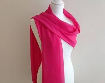 Hot pink chiffon shawl wedding bridal evening baptism ceremony 50/200 cm, Christmas scarf, shawl party...