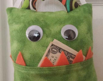 Tooth Fairy Monster Pillow- green/orange