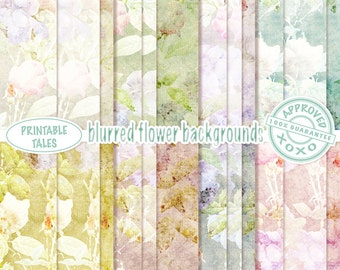 Floral digital papers Backgrounds Scrapbook Romantic Flowers Grungy Papers, Shabby Chic Background Pages, Faded   Commercial use Included