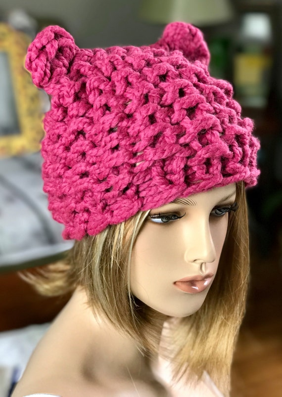 Pussyhat womens march hand knit hat pink beanie soft hat ships in 3