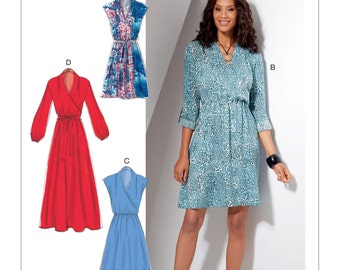McCall's Pattern M7534 Misses' Mock-Wrap Dresses