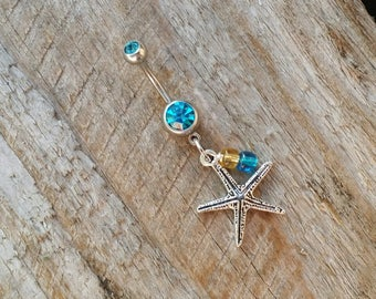 Starfish Belly Button Ring, Crystal Belly Rings, Beach Navel Rings, Beach Belly Ring, Body Jewelry, Jeweled Navel Ring, Curved Barbell.