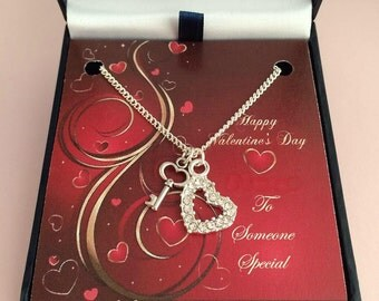 Valentines Necklace, Open Crystal Heart and Key To Your Heart, choice of card Mount.