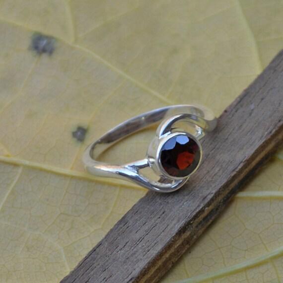 Genuine Garnet Gemstone Ring, Solid 925 Sterling Silver Bezel Ring, January Birthstone Ring, Unique Gift Designer Ring Size 8