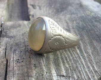 Vintage Brass and Glass Statement Ring