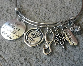 She Believed She Could so She Did Adjustable Bracelet, Silver Bangle, Expandable Bangle, RN Bracelet, Adjustable Bangle, Adjustable Bracelet