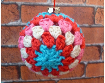 Christmas Bauble, Crochet Bauble, Crochet Decoration, Modern Christmas Bauble, Bright Bauble, Tree Decoration, Christmas Decoration, Xmas