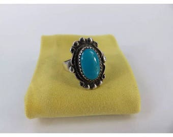 Vintage turquoise bell trading ring