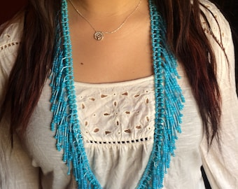 Showstopping turquoise fringe necklace