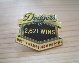 """Vintage Los Angeles Dodgers Most Wins """"2,621"""" From 1962-1991 Collectable MLB Lapel/ Hat Pin"""