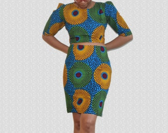 Ankara crop top, African Print Skirt, Pencil skirt, Party Dress, Crop top, Kitenge Dress,Cocktail dress,Skirt,African Shop, women's clothing
