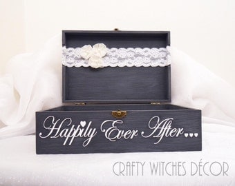 Wedding Happily Ever After Wedding Card Box, Wedding Card Box, Shabby Chic Card Box, Happily Ever After, Card Chest, Distressed Card Box